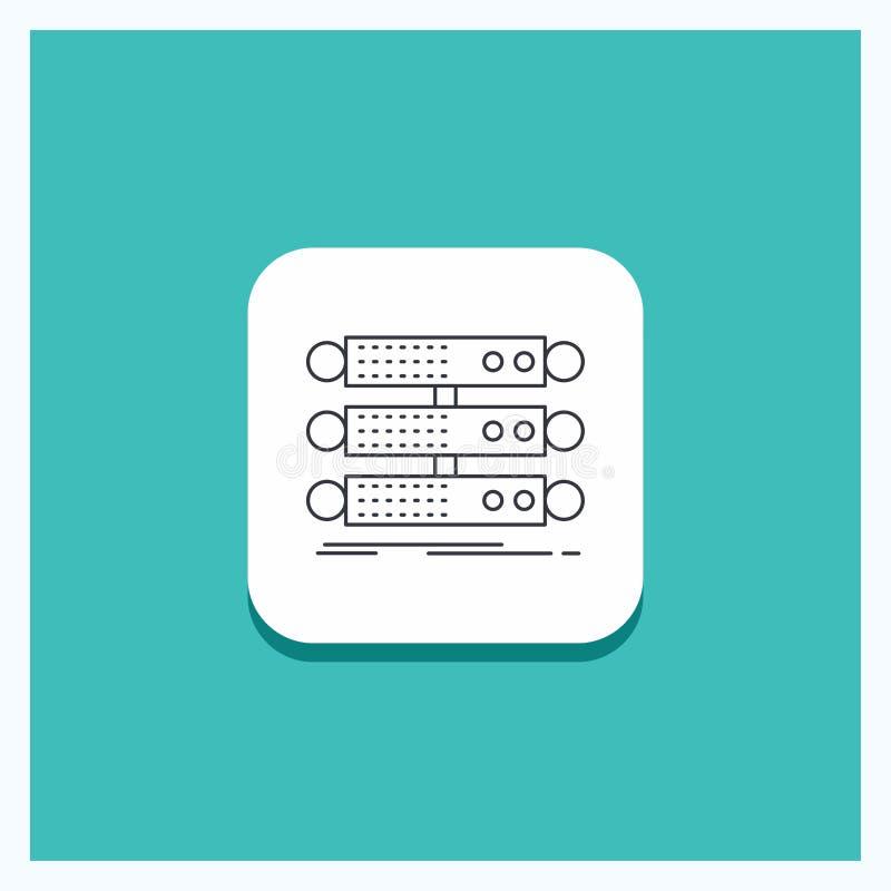 服务器的,结构,机架,数据库,数据行象绿松石背景圆的按钮 库存例证