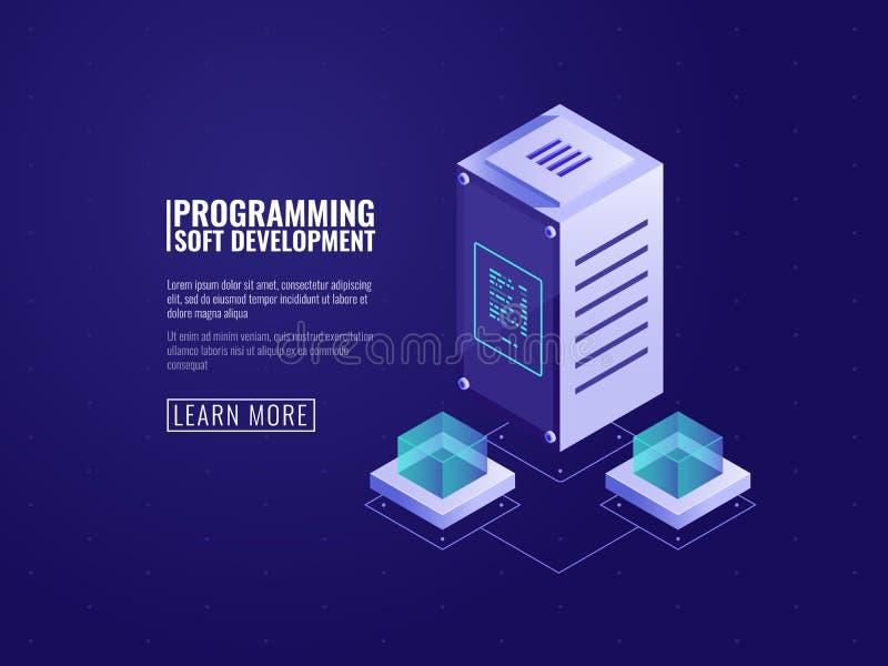 服务器硬件,网络主持,计算机软件、云彩存贮、数据保护和加密,自动化的编程 库存例证