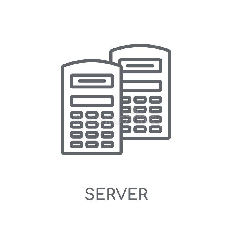 服务器线性象 在白色的现代概述服务器商标概念 皇族释放例证
