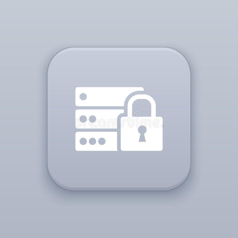 服务器锁,有白色象的保障灰色传染媒介按钮 向量例证
