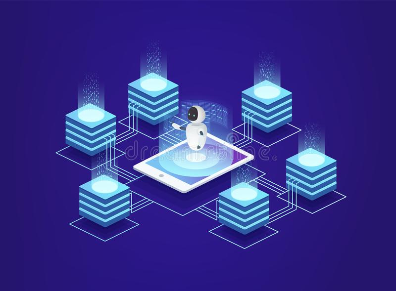 服务器驻地,数据中心 在人工智能下控制的数字信息技术  向量例证