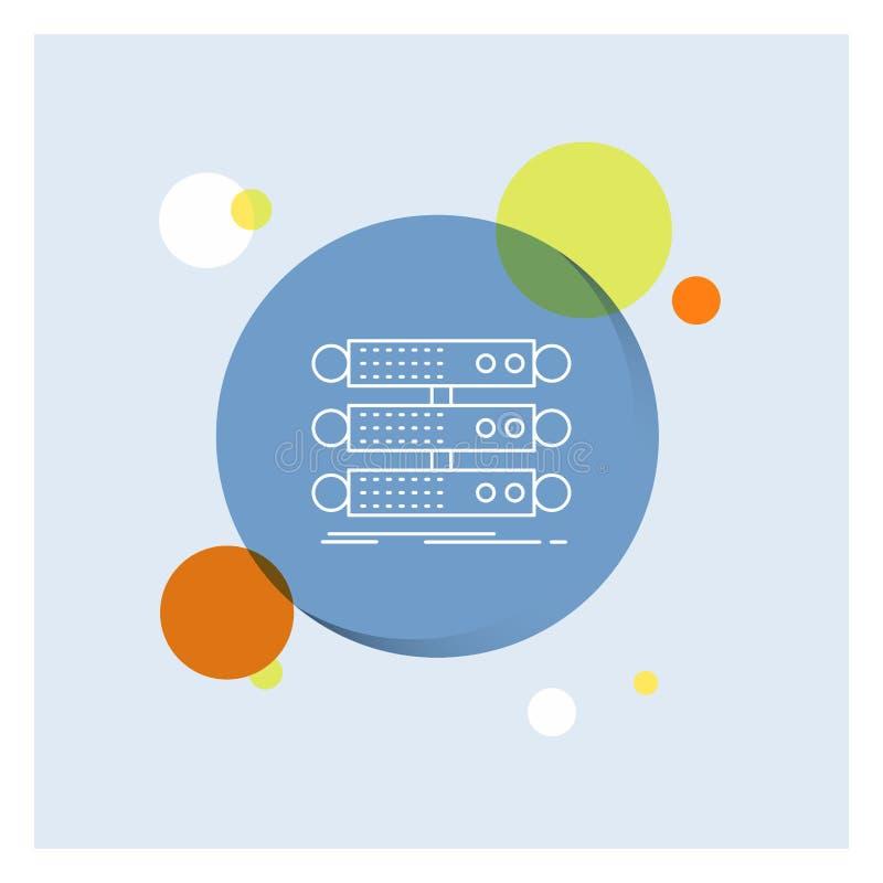 服务器,结构,机架,数据库,数据空白线路象五颜六色的圈子背景 库存例证