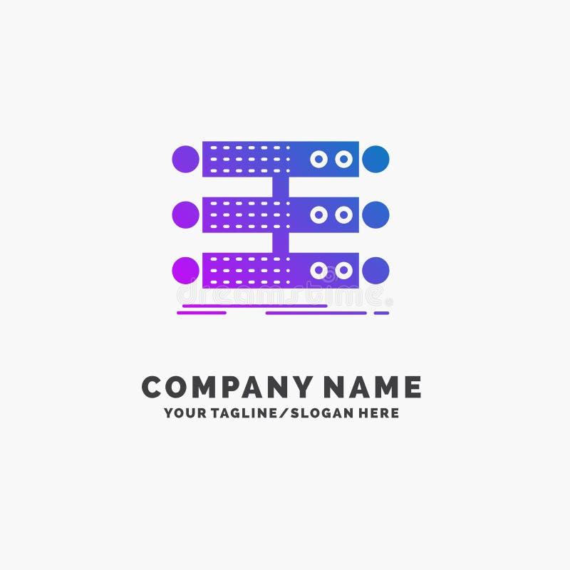服务器,结构,机架,数据库,数据紫色企业商标模板 r 皇族释放例证