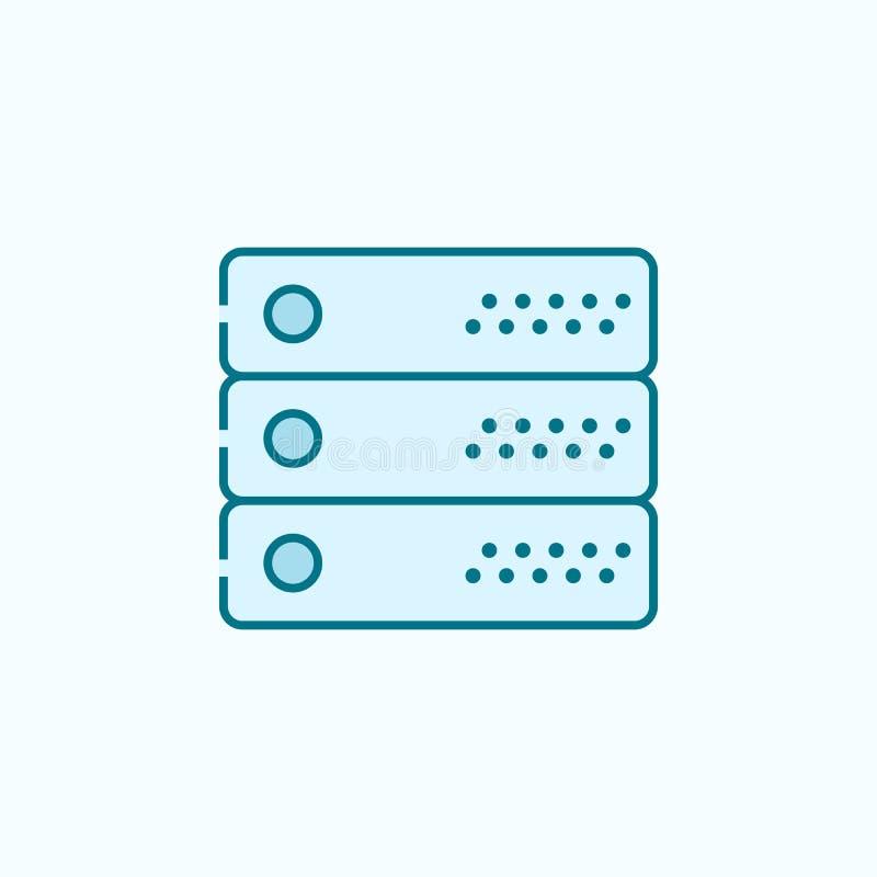 服务器2种族分界线象 简单的色素例证 服务器概述从在蓝色设置的网象的标志设计 向量例证