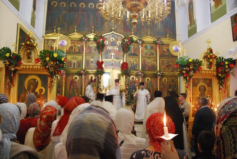 服务在东正教里 教士 俄国 库存照片