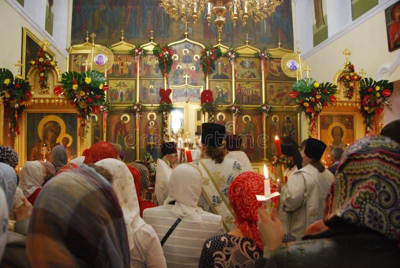 服务在东正教里 祷告 免版税库存照片