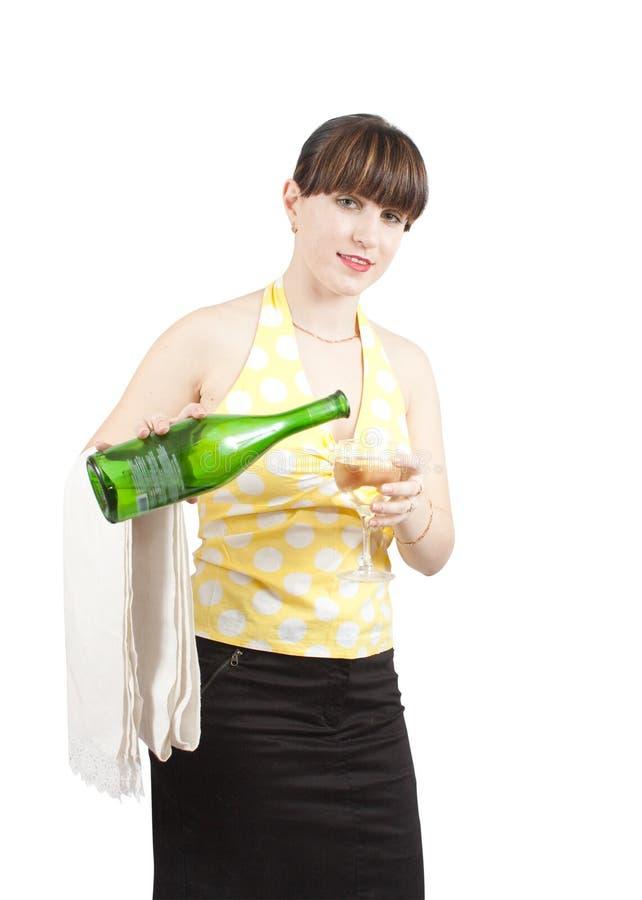 服务女服务员酒 库存照片