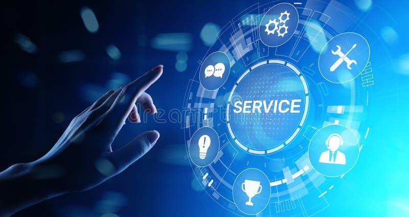 服务支持顾客帮助电话中心企业在虚屏上的技术按钮 库存照片