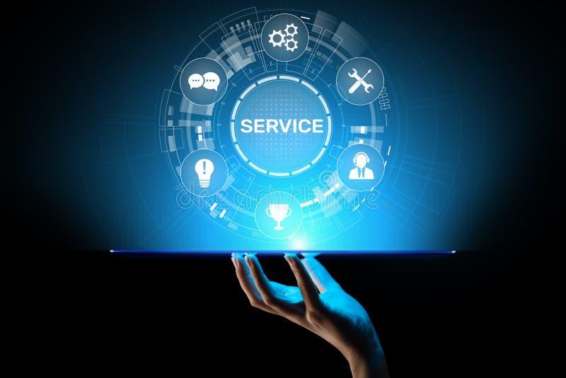 服务支持顾客帮助电话中心企业在虚屏上的技术按钮 免版税库存照片