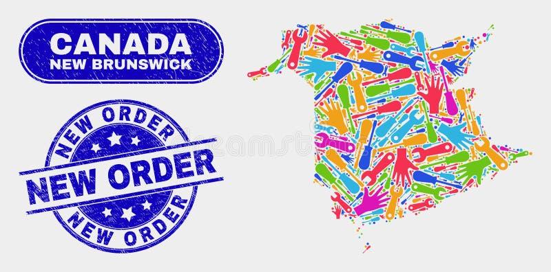 服务新不伦瑞克省地图和困厄新的命令邮票封印 皇族释放例证
