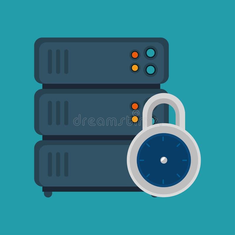 服务机锁安全蓝色背景 皇族释放例证
