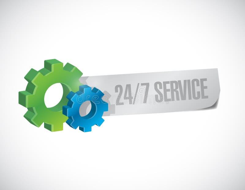24-7服务标志概念例证 库存例证