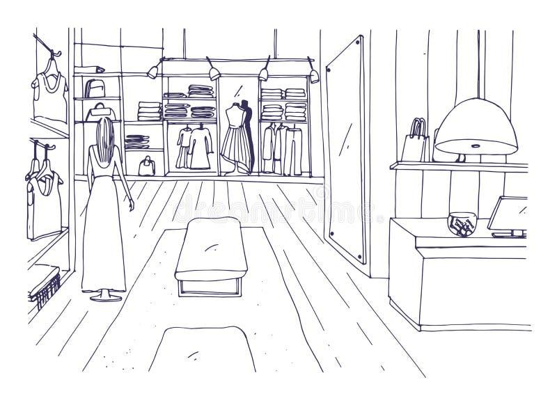 服装与柜台,垂悬的机架,陈设品,时装模特的商店内部徒手画的剪影在时髦的衣裳穿戴了 向量例证