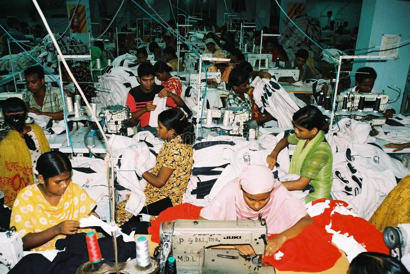 服装业在孟加拉国 库存图片