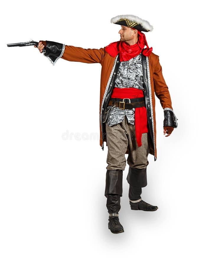 服装人海盗手枪年轻人 库存照片