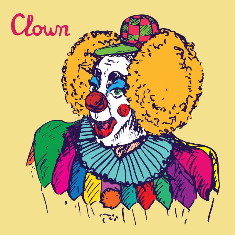 服装和方格的盖帽的小丑有滑稽红色假发微笑的 库存例证