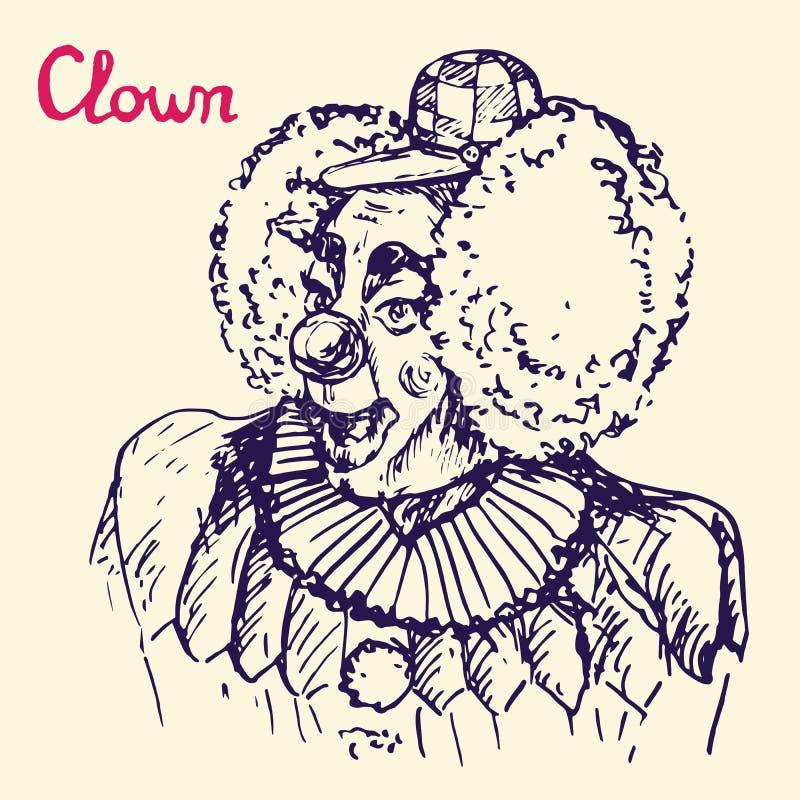 服装和方格的盖帽的微笑的小丑有滑稽的假发的, 皇族释放例证