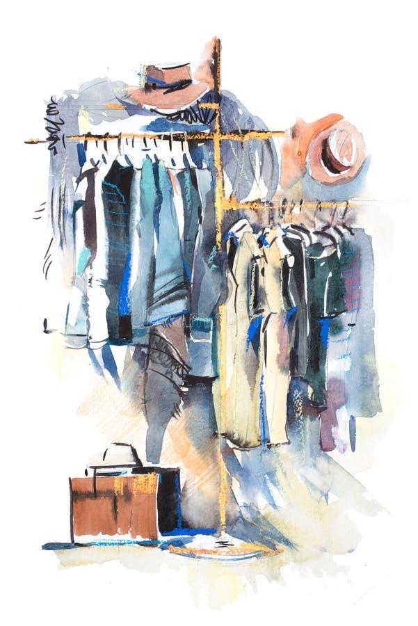 服装店衣裳棚架和显示  向量例证