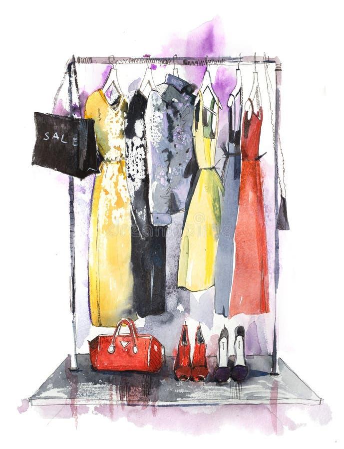 服装店衣裳棚架和显示  库存例证