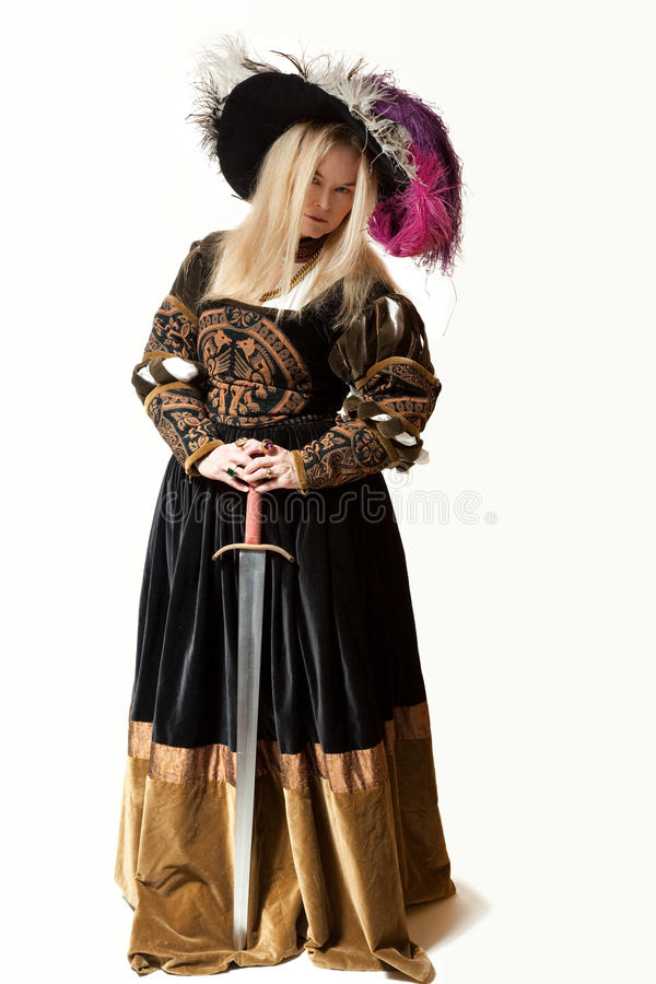 服装新生剑妇女 库存照片