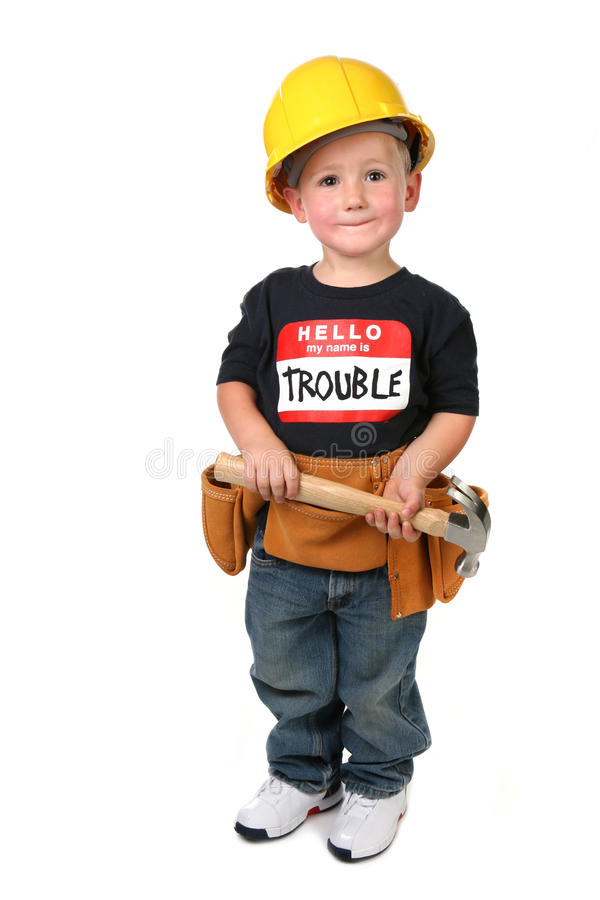 服装男孩建筑佩带的年轻人 库存图片