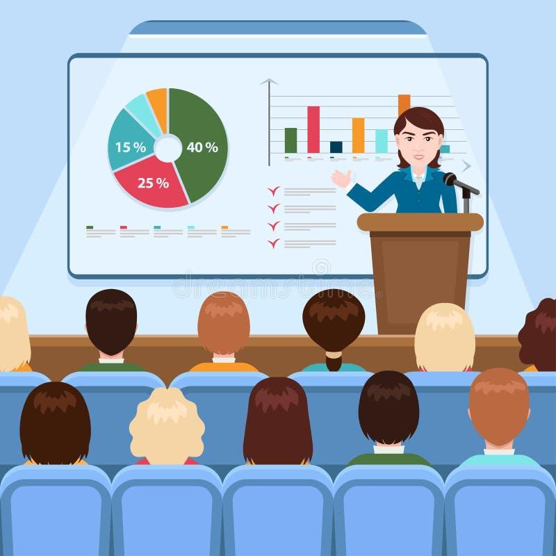 服装的女实业家做介绍在船上解释图观众的在会场里,企业研讨会, tra的 库存例证