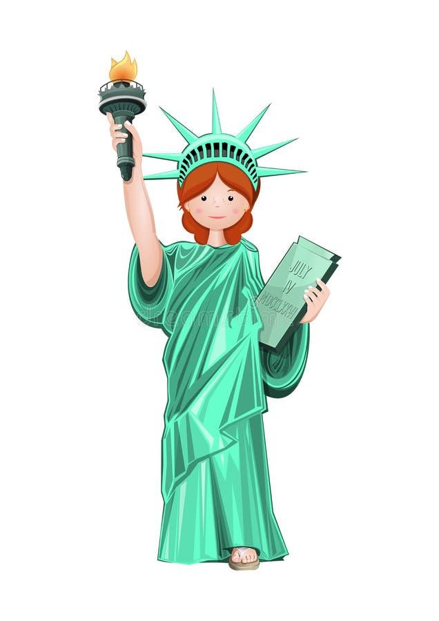 服装的自由女神像逗人喜爱的女孩 向量例证