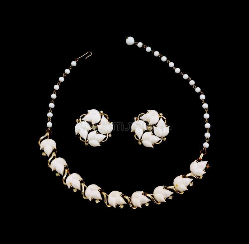 服装设计耳环珠宝叶子项链 库存照片