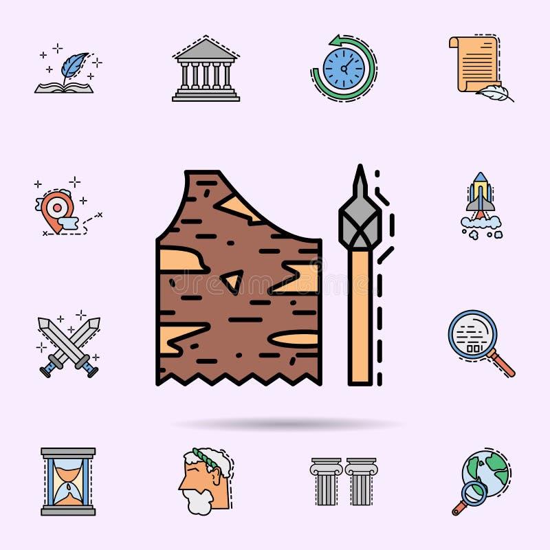 服装,石器时期,矛,武器象 r 库存例证