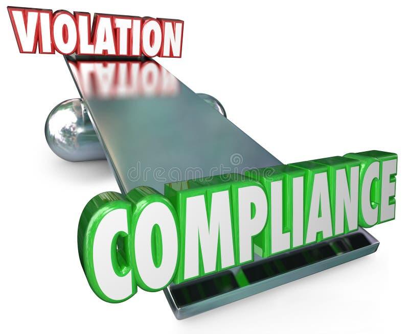 服从对侵害跷跷板平衡在规则法律之后 库存例证