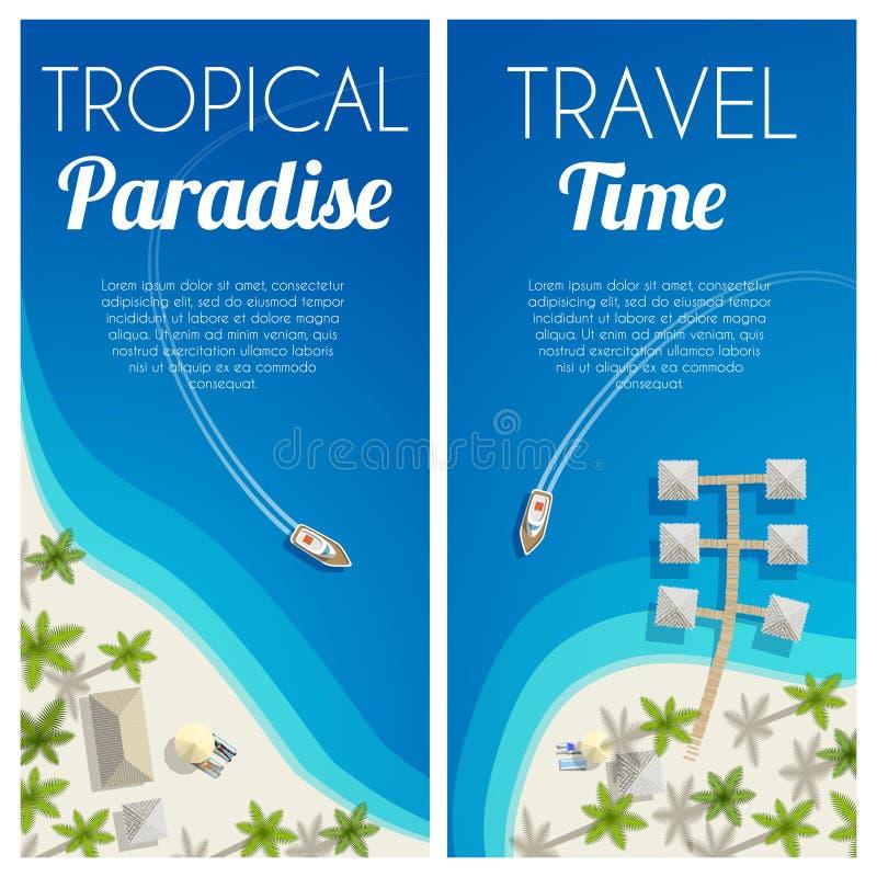 晴朗的与棕榈和平房的夏天海滩垂直的横幅 向量例证, EPS10 库存例证