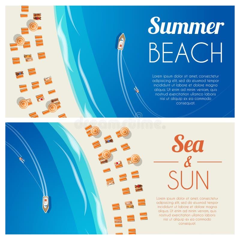 晴朗的与海滩睡椅和人的夏天海滩水平的横幅 向量例证, EPS10 皇族释放例证