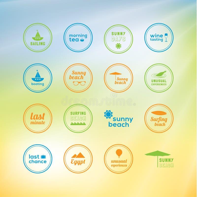 晴朗的假日!16个创造性的标记-与的暑假的象 库存例证