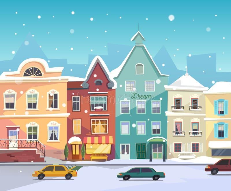 晴朗的城市街道在冬天 动画片大厦 向量例证