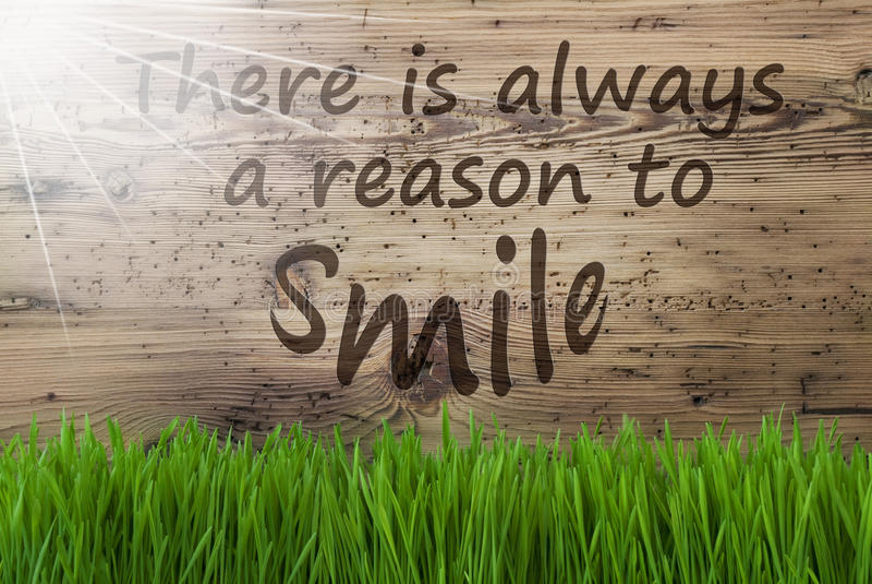 晴朗的木背景, Gras,总是引述原因微笑 向量例证
