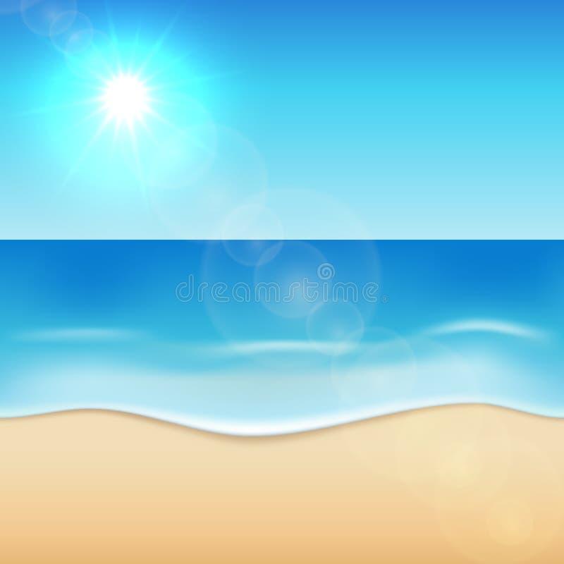 晴朗的海海滩背景 向量例证