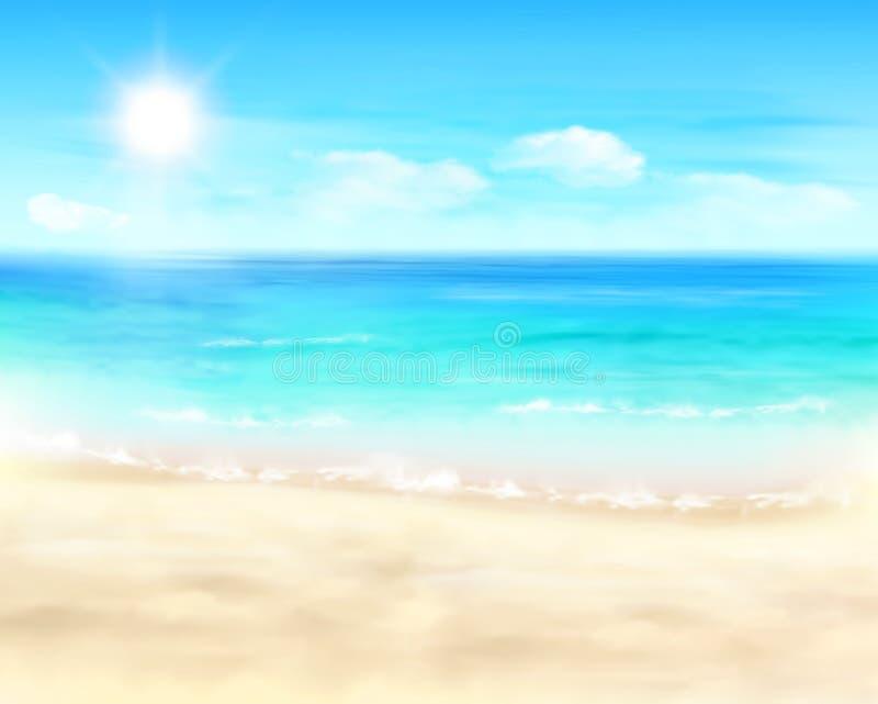 晴朗的海滩 也corel凹道例证向量 库存照片