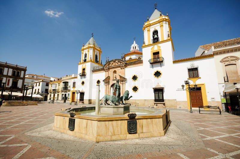 朗达,安大路西亚,西班牙。 plaza Del Socorro 免版税库存图片