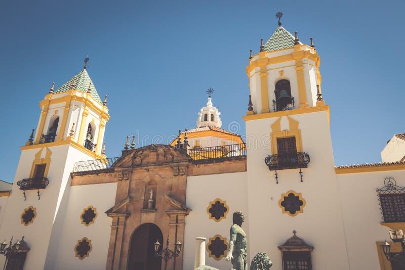 朗达,安达卢西亚,西班牙:广场台尔索乔尔罗教会 免版税库存照片