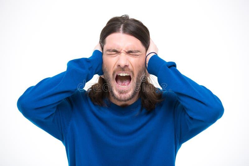 Download 绝望人用人工和尖叫关闭了耳朵 库存图片. 图片 包括有 疯狂, 的忧虑, 动物, 绝望, 歇斯底里, 愤怒 - 62535241