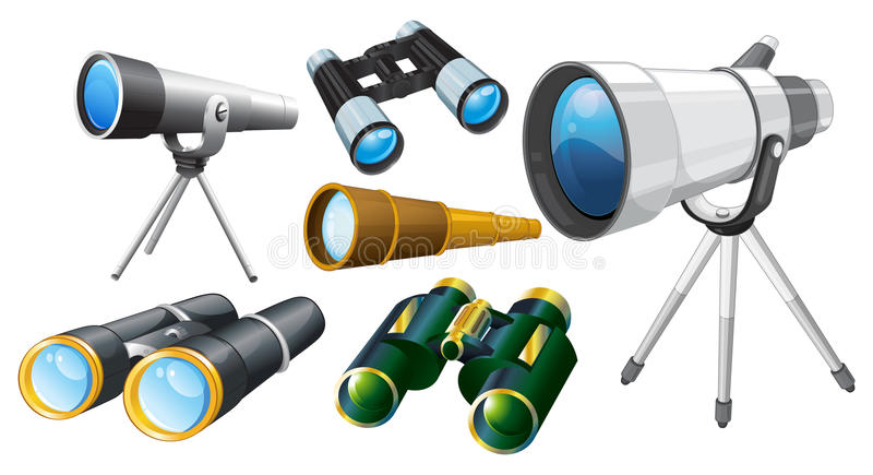 望远镜不同的设计  库存例证