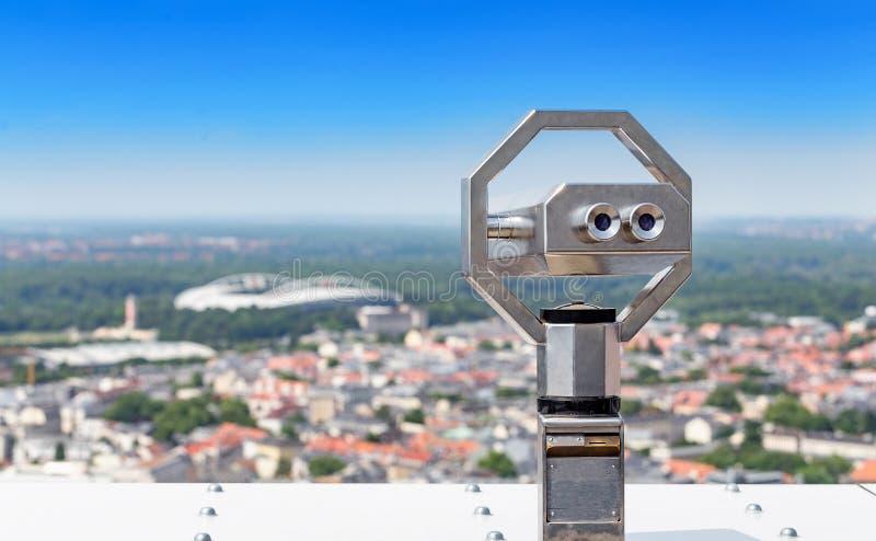 望远镜从德国莱比锡望去城市 免版税库存图片
