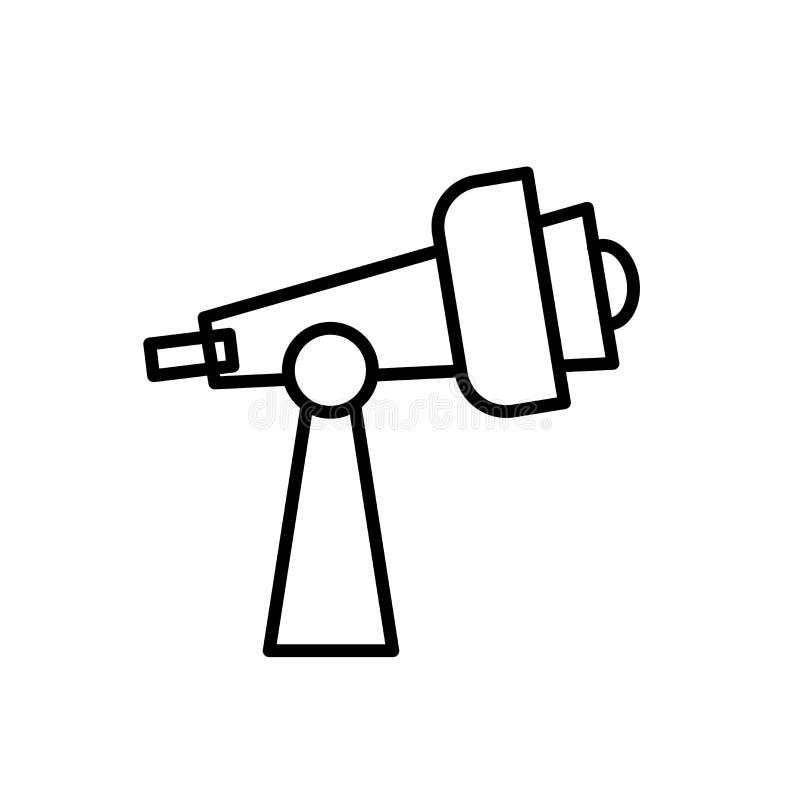 望远镜在白色背景、望远镜标志、线或者线性标志隔绝的象传染媒介,在概述样式的元素设计 皇族释放例证