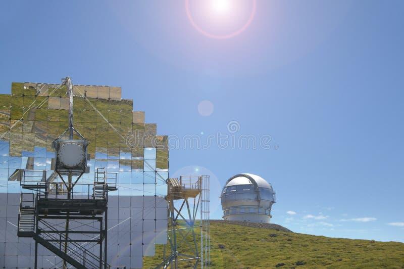 望远镜在Roque de los Muchachos La Palma 西班牙 库存图片