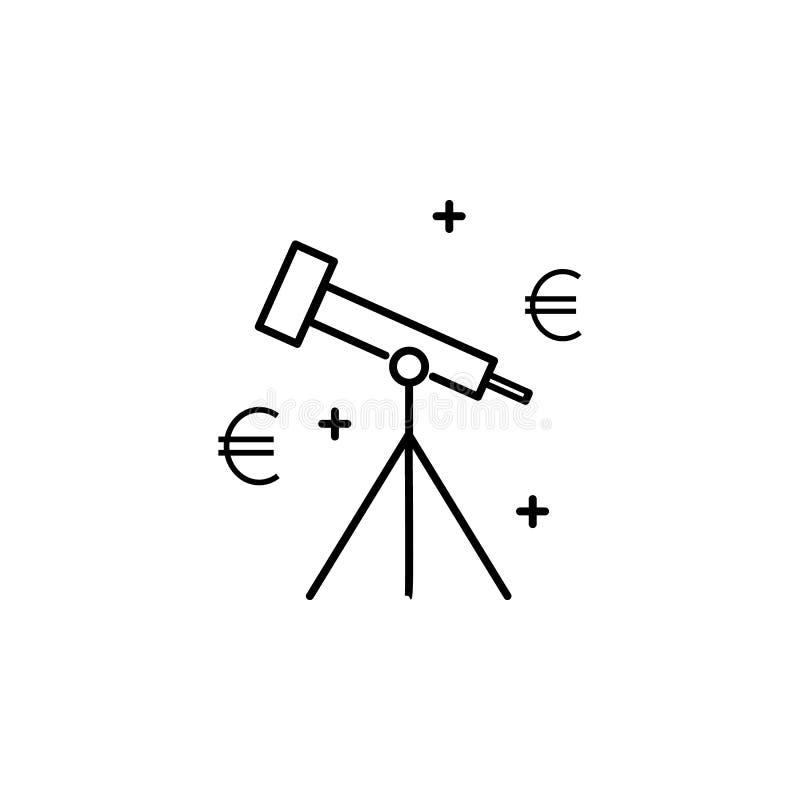 望远镜金钱象 普遍的财务象的元素 优质质量图形设计 标志,标志网站的汇集象, 库存例证