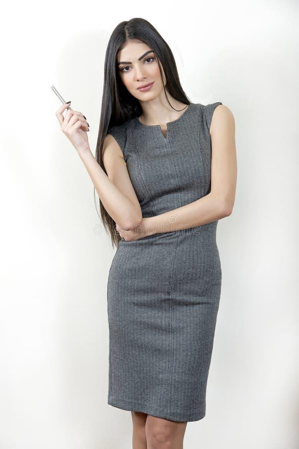 朝前看为新的项目的女商人 免版税库存照片