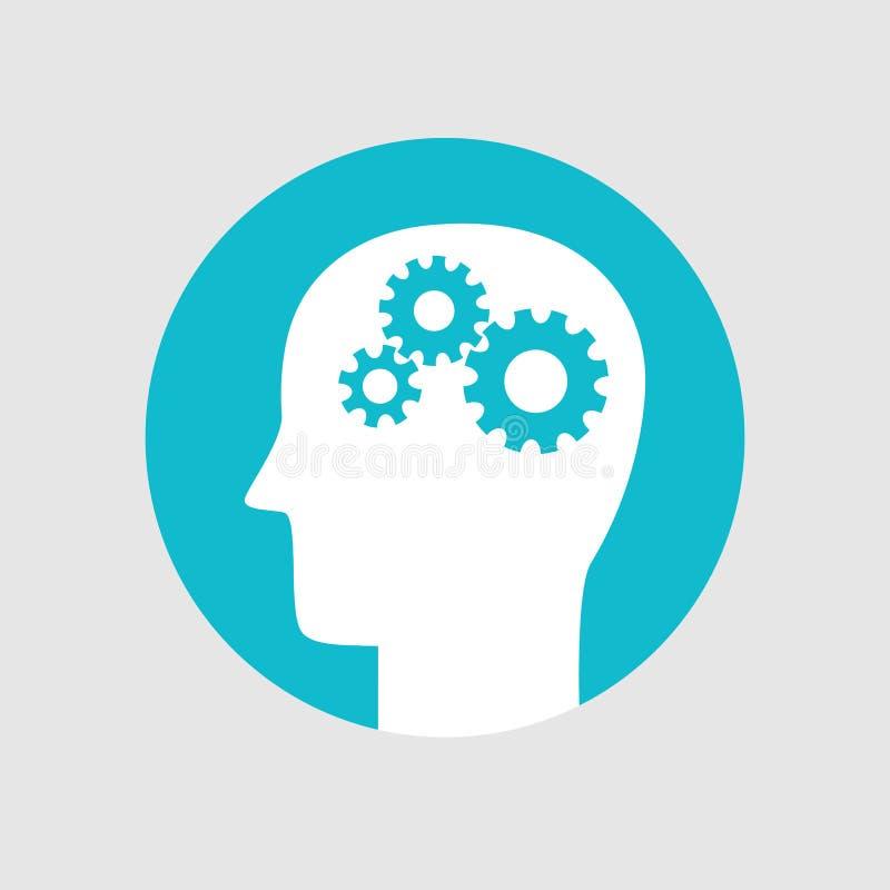 朝向与齿轮,记录脑部活动象平的样式 库存例证