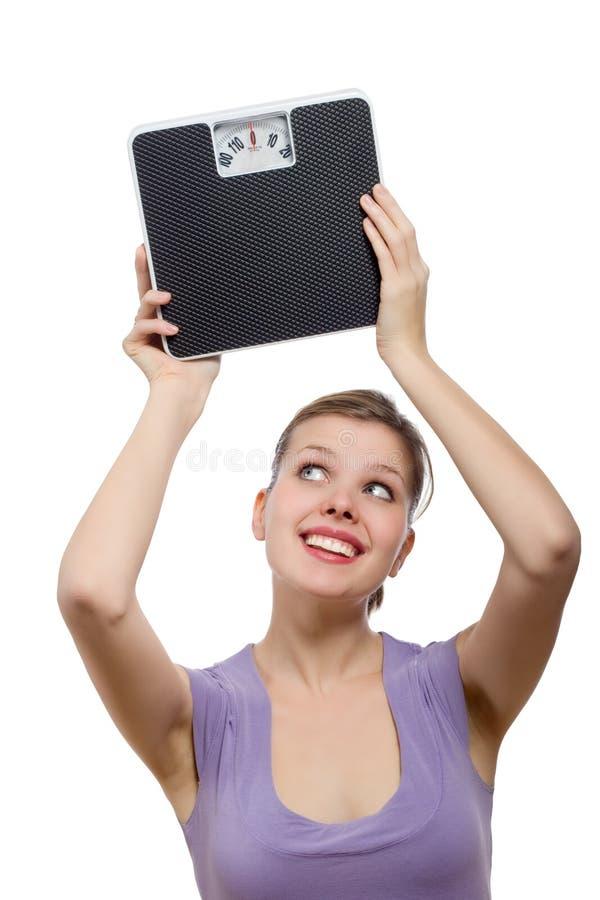 朝向增强在缩放比例重量妇女的她 库存照片