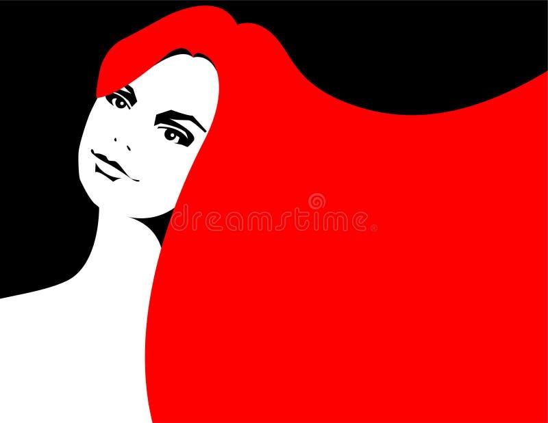 朝向的例证红色妇女 库存例证