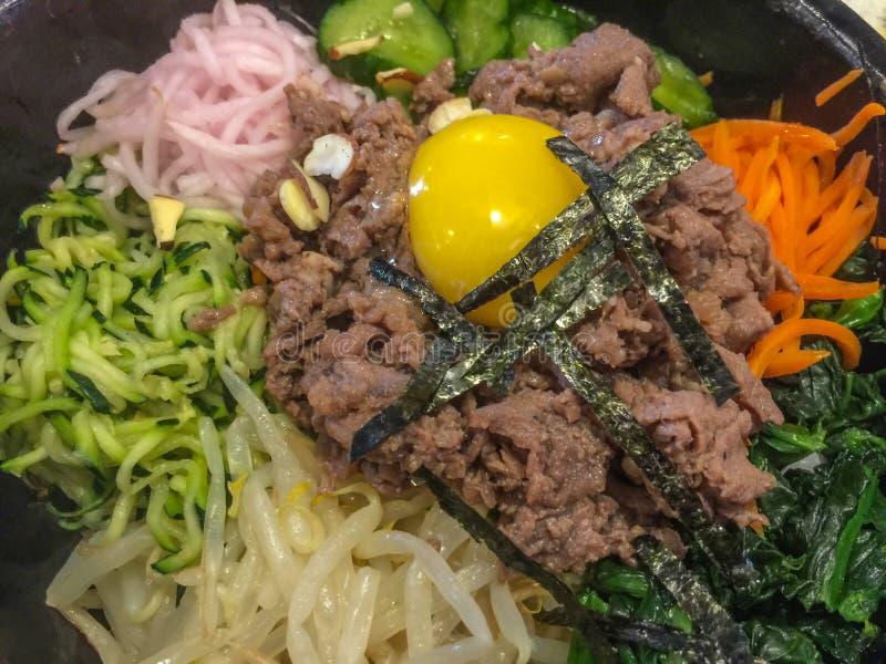 朝鲜拌饭用牛肉,韩国食物 图库摄影